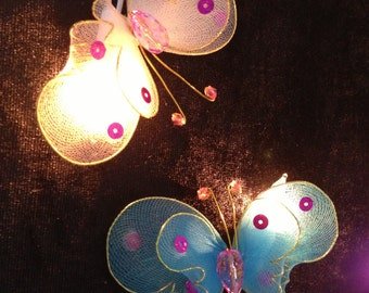 Handmade Colorful Moth Butterfly string lights for party and decoration (20 bulbs)