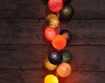 20 Bulbs Retro Mixed Colors Cotton ball string lights for Patio,Wedding,Party and Decoration