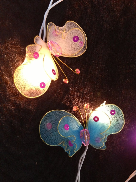 Butterfly Party String Lights : Handmade Colorful Moth Butterfly string lights for party and