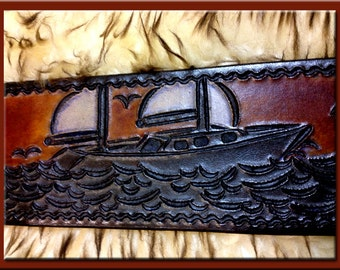SAILBOATS Design • A Beautifully Hand Tooled, Hand Crafted Leather Guitar Strap