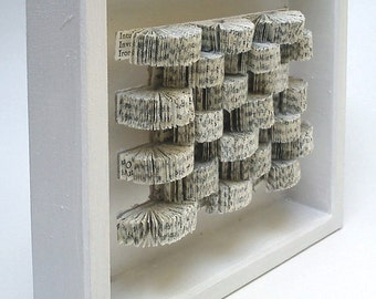 """Wall object """"another book in the wall"""" Paper Mosaic Relief Wall Art - Sculpture Home Deco"""