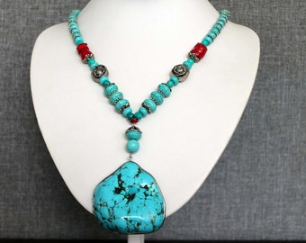 Turquoise and Red Sea Bamboo Coral Necklace with a large Pendant