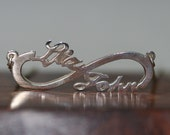 1.5 inch Infinity Love Necklace Personalized name Necklace in Sterling Silver with  box