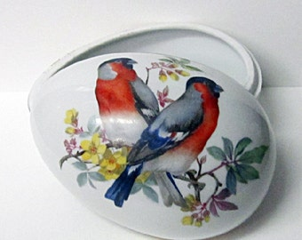 French Country, Limoges Hand Painted Birds, Egg Shaped Box With Lid, Vintage Porcelain