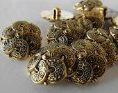"12 Gold Bracelet Flower Round Shank Buttons Size 15/16"""