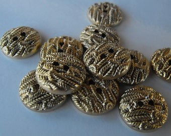 """18 Gold Wheat Flat Round Buttons Size 11/16"""""""