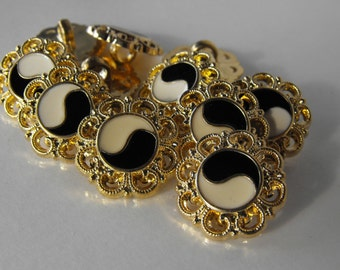 """12 Gold Ying and Yang Flower Shank Buttons Size 5/8"""""""