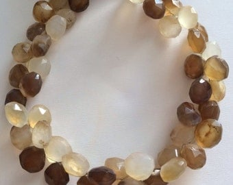 Brown Chalcedony Faceted Briolettes-8x8mm