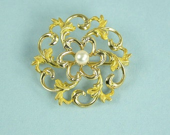 Edwardian Antique 12K Pin with Pearl (No. 277)