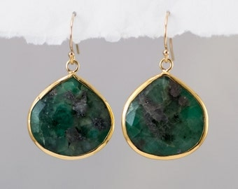 Raw Emerald Earrings - Bezel Gemstone Earrings - May Birthstone Jewelry - Gold Earrings - Drop Earrings