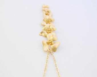 Gold Cherry Blossom Flower Pendant, 14K Gold Filled Chain, Cascading Cherry Blossom Necklace, Gift Under 35