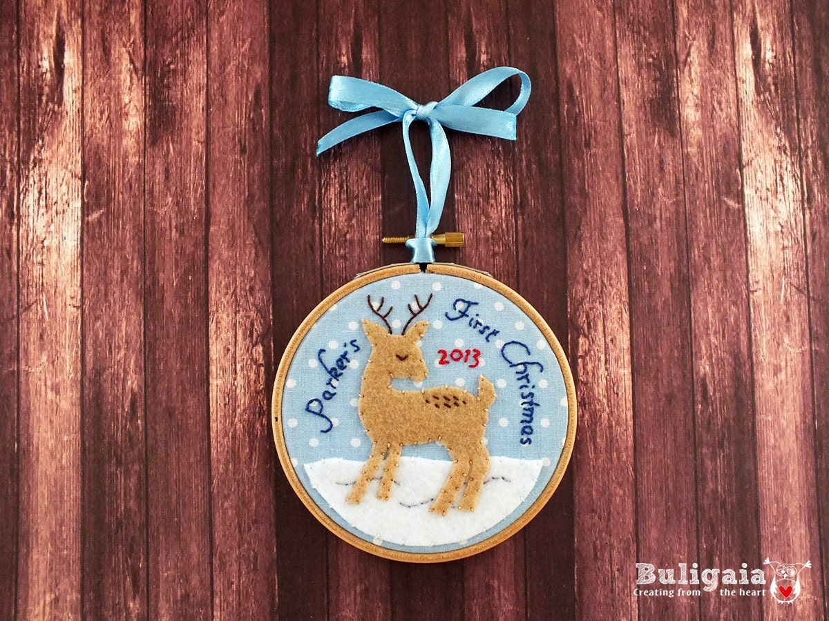 Baby 39 s first christmas ornament personalized christmas by for Babys first christmas decoration