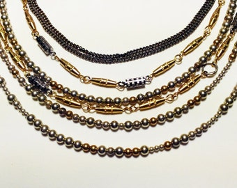 Multilayer brass and silver necklace