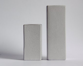 Set of Two Mid Century White Cor Unum Vases   - Dutch Pottery c.70s 80s