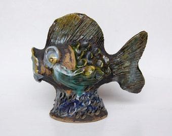 Vintage Large Rare Danish Studio Pottery  Fish Figurine 60s
