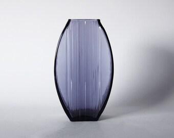Vintage German Grey / Blue Glass Vase  - Ingrid Glashutte 70s