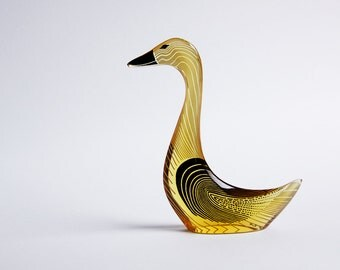 LARGE Mid Century Abraham Palatnik Golden Lucite Goose Figurine  - 60s
