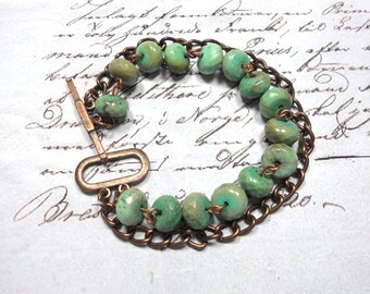 Beaded Bracelet, Green Moss Opal Gemstone Bracelet, Copper Chain and Toggle. Green Bracelet
