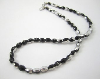 Shop Closing sale, Oval Black and Silver Glass Necklace for Interchangeable Multi Strand Collection black and silver multi strand detachable
