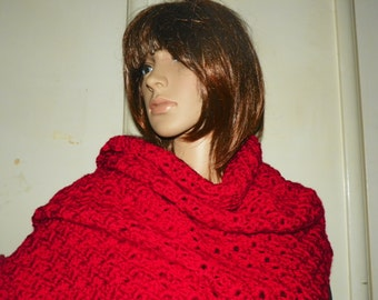 Silky Red Shawl Wrap Stole  My Best Seller by SusiesKorner Perfect for a Gift