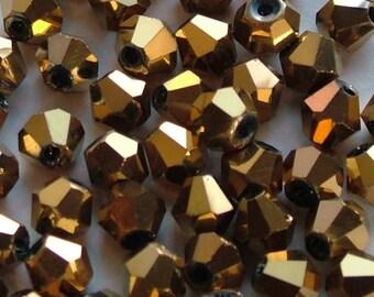 NEW! 3mm Crystal Bicones Metallic Gold Aurum Bead Set of 5, 10, 20, 50 or 100 pieces |AC-B3-014-M