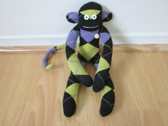 Argyle sock monkey plush doll - purple, yellow, and black with vintage button