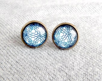 Blue Lace Cabochon Stud Earrings Bridesmaids Gift Unique Jewelry Gift For Her