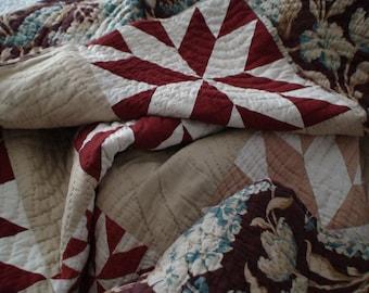 Antique Eight Point Star Handquilted, Handpieced Quilt, Reverse Full Floral Design, Aunt Blanche's Keepsake, Treasury Item