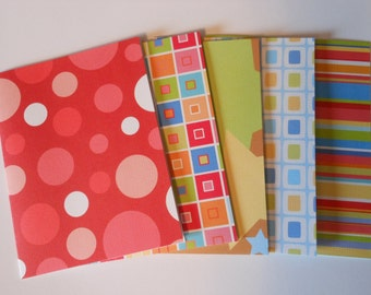 Set of 5 Bright Basic Blank Notecards with Envelopes #9121