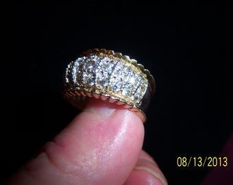 Vintage Sterling and CZ Encrusted Unusual Ring
