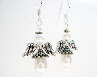 White Christmas Angel Earrings, Pearl Angel Earrings, Antique Silver Holiday Earrings, Faux Pearl Jewelry Gifts Under 20