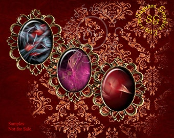Fractal Motion Ovals - Digital Collage Sheet - 30x40mm Ovals for Pendatns, Jewelry Supplies sg402