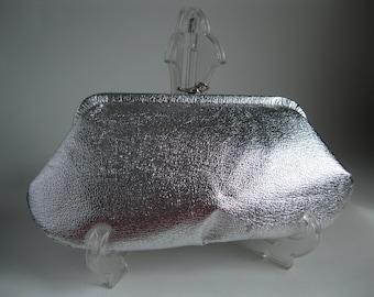 Vintage 1960s Silver Clutch Purse - Wedding Handbag - Bridal Fashions