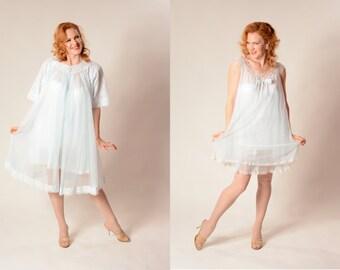 Vintage 1960s Babydoll Peignoir Set - Ice Blue Lingerie - Neiman Marcus Fashions Size S