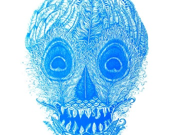 Turquoise Blue Feather Skull Screen Print 18 x 24