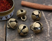 Nepali Jingle: Brass Bells with Clapper, Nepal,  17x20mm, Festive Holiday Decor, Craft orJewelry Making Supplies, Christmas Bells, 5 pieces