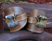 "Viking ""Thors Hammer"" Leather  Cuff"