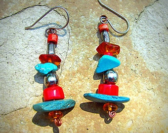 Turquoise, Coral, Amber and Silver Earrings