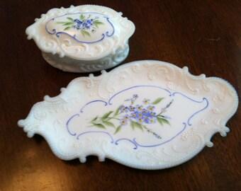 Milk Glass Beaded Swirl Dresser Set Box and Tray Lornita Glass
