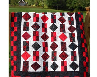 Quilt Pattern - Inferno - PDF INSTANT DOWNLOAD - Sizes from Crib to Queen King - Easy
