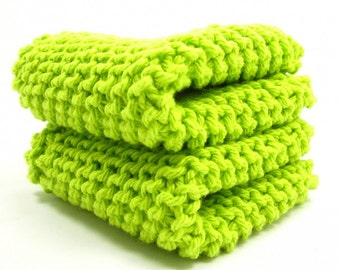 Lime Green Knit Dishcloth Set Two Classic Cotton Cloths