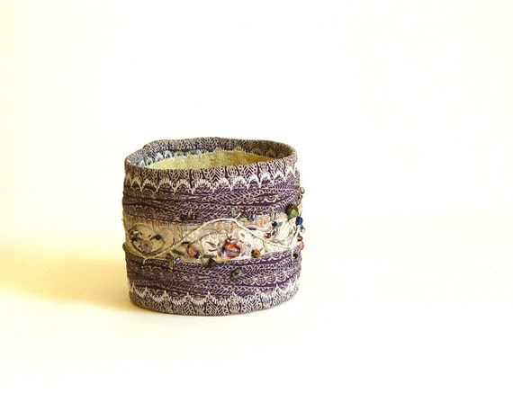 Embroidered bracelet, Fiber Art Jewelry, silk cuff, Lavender Purple, beads gemstones