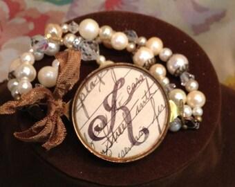 Ink Spot Monogram Interchangeable Vintage Bracelet