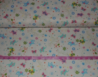 FabriQuilt Baby Talk Elephants on White - BTY Cotton Fabric - Choose your cut