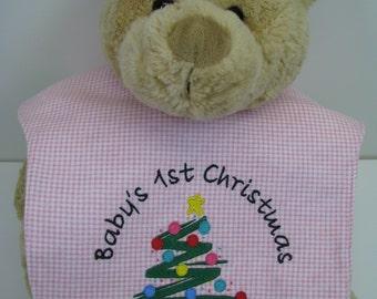 Reversible Baby Bib - Baby's First Christmas