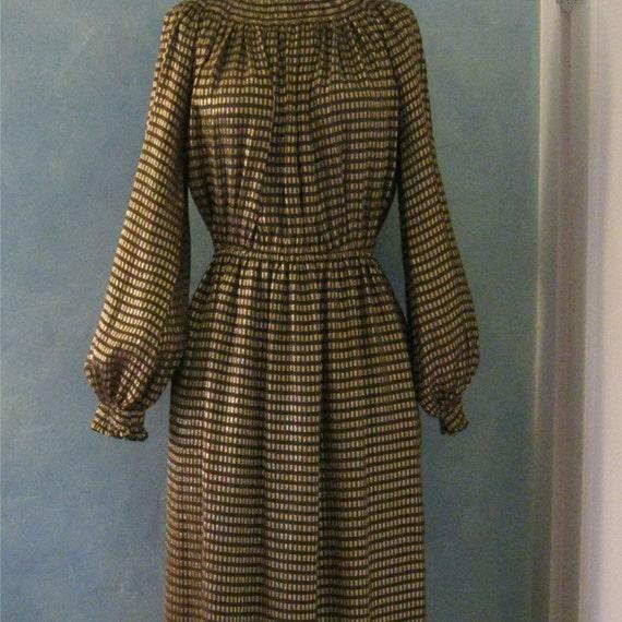 Vintage 70s Metallic Dress - Morty Sussman for Mollie Paris Boutique - Gold Dress - Goddess Dress