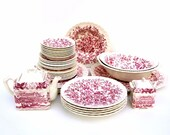 Vintage Red Transferware Pink White Printemps Dinnerware Set