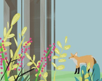 Fox Art Print | Fox Painting | Fox Children's Art | Jennifer Shear | 5x7 | 8x10 |11x14