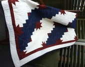 """Twin Quilt: Americana Red, White, and Blue 60"""" by 73"""""""