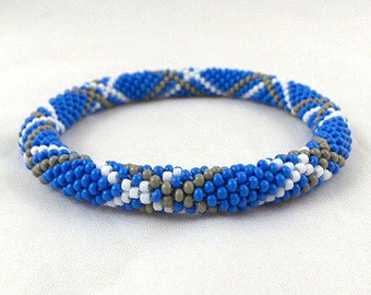 Crochet beads rope bracelet, Nepal roll on bangle ,denim blue ,white ,grey, plus size fashion ,geometric  jewellery, gift for her, beadwork